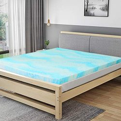 POLAR SLEEP Mattress Topper Full, 3 Inch Gel Swirl Memory Foam Mattress Topper with Ventilated D ...