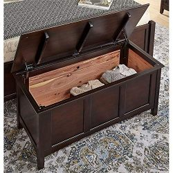 BOWERY HILL Solid Wood Cedar-Lined Blanket Trunk Chest in Dark Mahogany